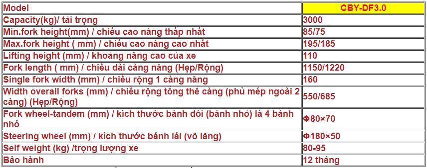 XE NÂNG TAY THẤP NIULI CBY-DF3.0 (TẢI TRỌNG 3000KG)