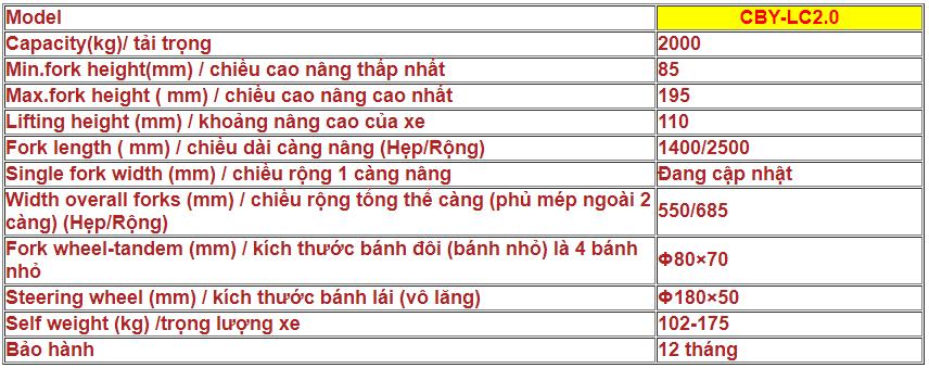 XE NÂNG TAY THẤP CÀNG SIÊU DÀI CBY-LC2.0 (TẢI TRỌNG 2000KG)